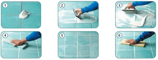 vệ sinh bề mặt gạch bằng miếng chùi ướt và vải sạch